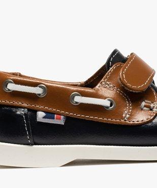 Chaussures bateau garçon dessus cuir à fermeture scratch Dessus cuir lisse bicolore vue6 - GEMO (ENFANT) - GEMO