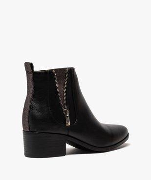 Boots femme à talon large avec zip décoratif vue4 - GEMO (CASUAL) - GEMO