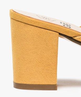 Sandales femme mules à talon en suédine unie vue6 - GEMO(URBAIN) - GEMO