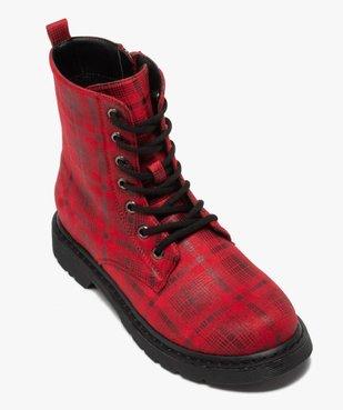 Boots femme rangers à semelle crantée lacets contrastés Dessus à carreaux vue5 - GEMO (CASUAL) - GEMO