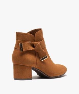Boots femme à talon en suédine unie et bride décorative vue4 - Nikesneakers(URBAIN) - Nikesneakers