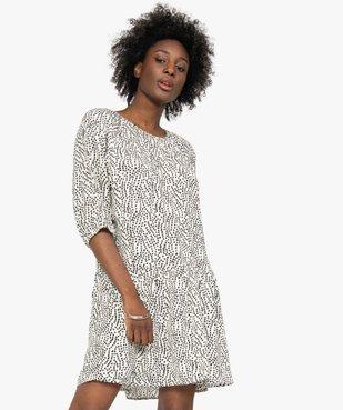 Robe femme imprimée courte à manches ¾  vue1 - GEMO(FEMME PAP) - GEMO