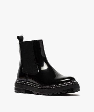 Boots femme style chelsea vernies à semelle crantée vue2 - Nikesneakers (CASUAL) - Nikesneakers