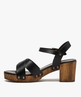 Sandales femme unies à talon imitation bois vue3 - GEMO(URBAIN) - GEMO