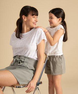 Tee-shirt femme à manches courtes façon dentelle anglaise vue6 - GEMO(FEMME PAP) - GEMO