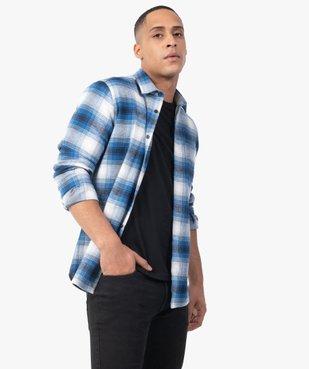 Chemise homme à carreaux et manches longues en flanelle vue2 - GEMO (HOMME) - GEMO