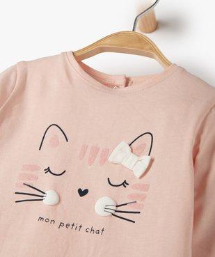 Tee-shirt bébé fille avec motif chat vue2 - Nikesneakers C4G BEBE - Nikesneakers