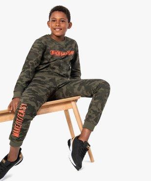 Pantalon de jogging garçon avec inscription sur la jambe vue5 - GEMO (ENFANT) - GEMO