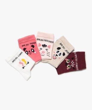 Chaussettes fille avec inscriptions et motifs (lot de 5) vue2 - GEMO (ENFANT) - GEMO