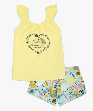 Pyjashort fille à bretelles et motifs marins vue2 - GEMO (ENFANT) - GEMO