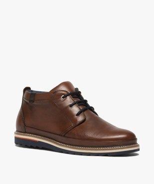 Boots homme lacés en cuir souple et semelle sport vue2 - GEMO(URBAIN) - GEMO