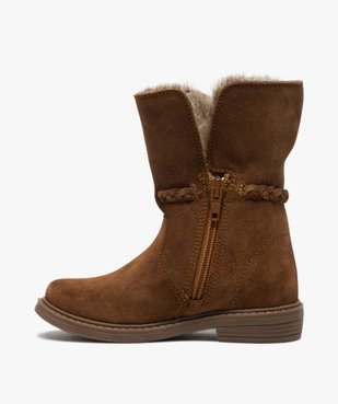 Boots fille zippées dessus cuir et col fourrure imitation vue3 - GEMO (ENFANT) - GEMO