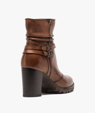 Boots femme à talon dessus cuir uni et brides décoratives vue4 - GEMO(URBAIN) - GEMO