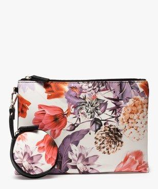 Pochette femme avec porte-monnaie à motifs fleuris vue1 - GEMO (ACCESS) - GEMO