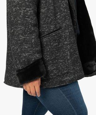 Manteau femme en maille bouclette et détails duveteux vue2 - GEMO (G TAILLE) - GEMO