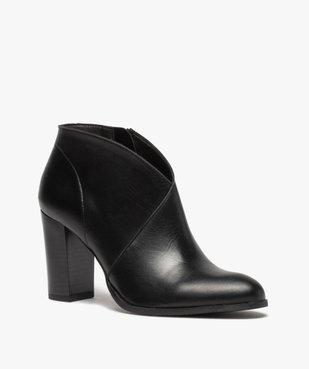 Low-boots femme à talon droit dessus cuir uni vue2 - GEMO(URBAIN) - GEMO