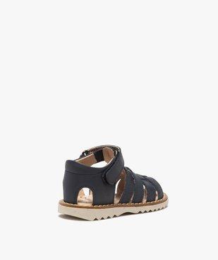 Sandales bébé en cuir à bout fermé et bride scratch vue4 - GEMO(BEBE DEBT) - GEMO