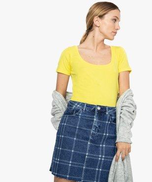 Tee-shirt femme ajusté en maille côtelée vue1 - FOLLOW ME - GEMO