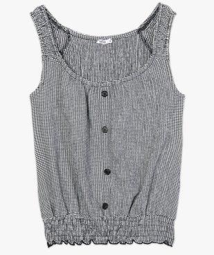 Tee-shirt femme sans manches en seersucker vichy et smocks vue4 - GEMO(FEMME PAP) - GEMO
