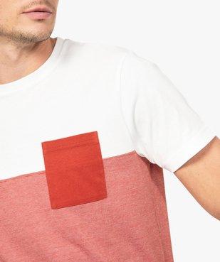 Tee-shirt homme à manches courtes bicolore uni/rayé vue6 - GEMO (HOMME) - GEMO