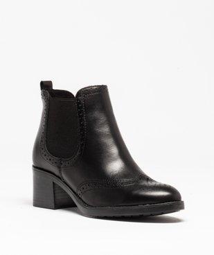 Boots femme à talon dessus cuir uni avec perforations vue2 - GEMO(URBAIN) - GEMO