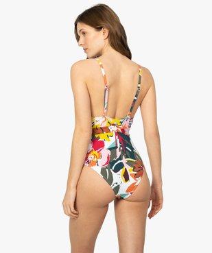 Maillot de bain femme une pièce multicolore avec ceinture vue3 - GEMO (PLAGE) - GEMO