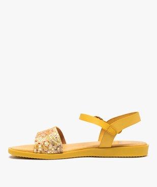Sandales femme à talon plat dessus en cuir imprimé vue3 - GEMO (CASUAL) - GEMO