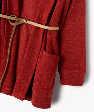 Gilet fille porté ouvert avec col châle et ceinture pailletée vue3 - GEMO (ENFANT) - GEMO