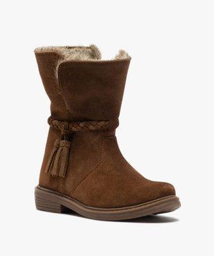 Boots fille zippées dessus cuir et col fourrure imitation vue2 - GEMO (ENFANT) - GEMO