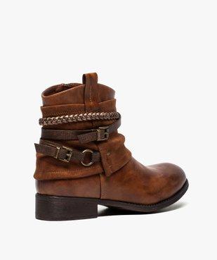 Boots femme talon plat zippés à brides décoratives vue4 - Nikesneakers (CASUAL) - Nikesneakers