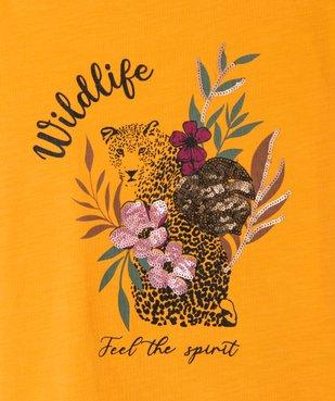 Tee-shirt fille avec motifs fleuris et sequins vue2 - GEMO (ENFANT) - GEMO