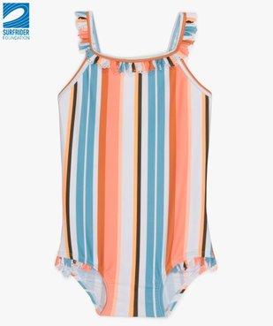 Maillot de bain bébé fille 1 pièce à rayures multicolores en polyester recyclé - Gémo x Surfrider  vue1 - SURFRIDER DTR - Nikesneakers