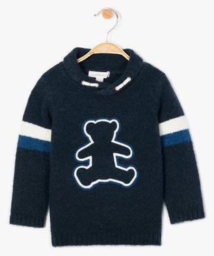 Pull bébé garçon en grosse maille et col châle - Lulu Castagnette vue1 - LULUCASTAGNETTE - GEMO