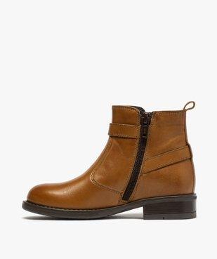 Boots fille unis dessus cuir à fermeture zippée vue3 - GEMO (ENFANT) - GEMO