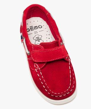 Chaussures bateau garçon dessus cuir à fermeture scratch Dessus cuir retourné uni vue5 - GEMO (ENFANT) - GEMO