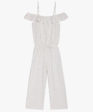 Combinaison pantalon fille rayée à fines bretelles vue1 - GEMO (ENFANT) - GEMO