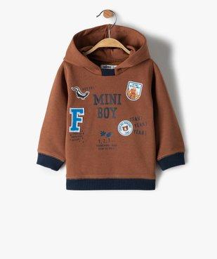 Sweat bébé garçon à capuche bicolore vue1 - Nikesneakers(BEBE DEBT) - Nikesneakers