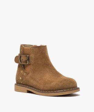 Boots bébé fille zippées style chelsea dessus cuir retourné vue2 - GEMO(BEBE DEBT) - GEMO