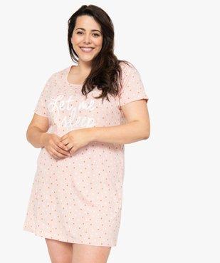 Chemise de nuit femme à manches courtes avec motif vue2 - GEMO(HOMWR FEM) - GEMO