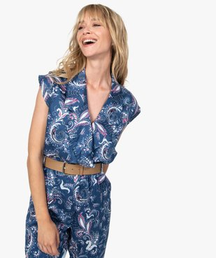 Combinaison pantalon femme imprimée avec ceinture vue2 - GEMO(FEMME PAP) - GEMO