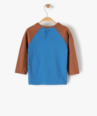 Tee-shirt bébé garçon à manches longues contrastantes vue4 - GEMO(BEBE DEBT) - GEMO