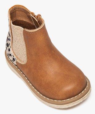 Bottines bébé fille à zip et élastique motif léopard vue5 - GEMO(BEBE DEBT) - GEMO