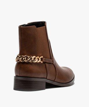 Boots femme unies à talon plat avec chaîne sur l'arrière vue4 - GEMO (CASUAL) - GEMO