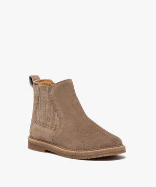 Boots fille zippées dessus cuir retourné style chelsea vue2 - GEMO (ENFANT) - GEMO
