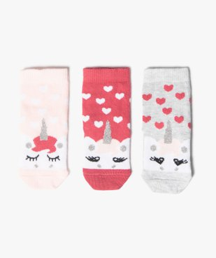 Chaussettes bébé à motif licorne et paillettes (lot de 3) vue1 - Nikesneakers C4G BEBE - Nikesneakers
