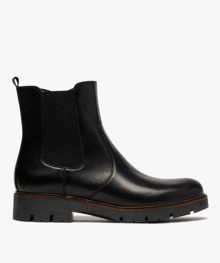 Boots fille style chelsea dessus cuir à semelle crantée vue1 - GEMO (ENFANT) - GEMO