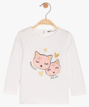 Tee-shirt bébé fille manches longues imprimé en coton bio vue1 - GEMO C4G BEBE - GEMO