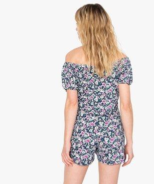 Haut de pyjama femme à motifs fleuris – Lulu Castagnette vue3 - LULUCASTAGNETTE - GEMO