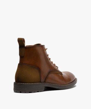 Boots homme unis à lacets et zip avec couture débordante vue4 - GEMO (CASUAL) - GEMO