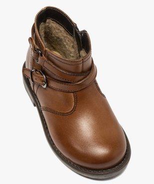 Boots bébé fille en cuir avec bride décorative  vue5 - GEMO(BEBE DEBT) - GEMO